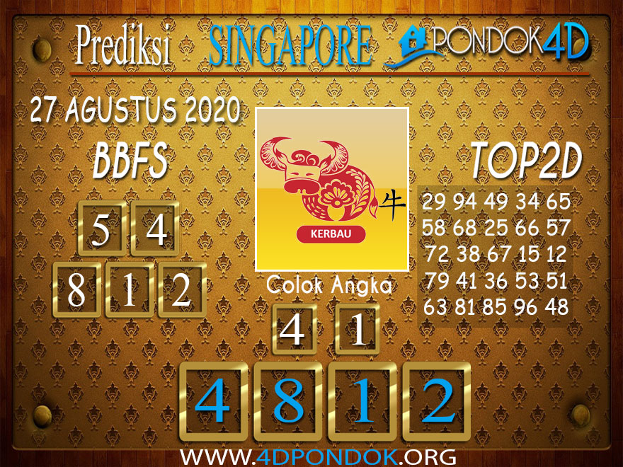Prediksi Togel SINGAPORE PONDOK4D 27 AGUSTUS 2020