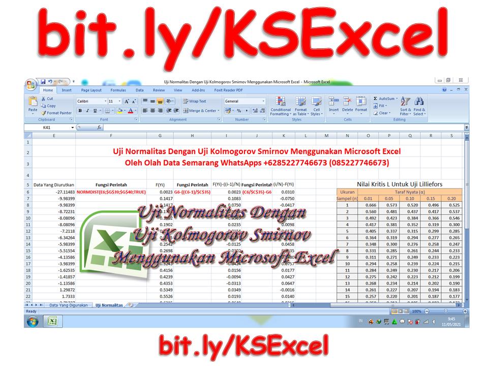 Uji Normalitas Dengan Uji Kolmogorov Smirnov Menggunakan Microsoft Excel