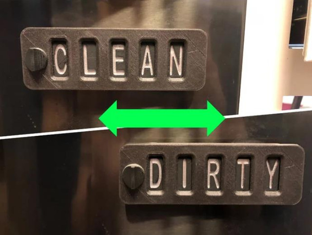 Sliding Word Changing Dishwasher Sign - Cool Things to 3D Print