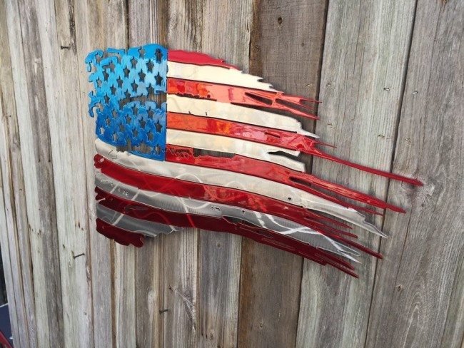 U.S FLAG TATTERED AND TORN METAL ART 4