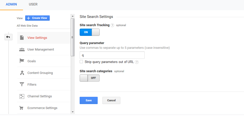 Setting Site Search di Google Analytics