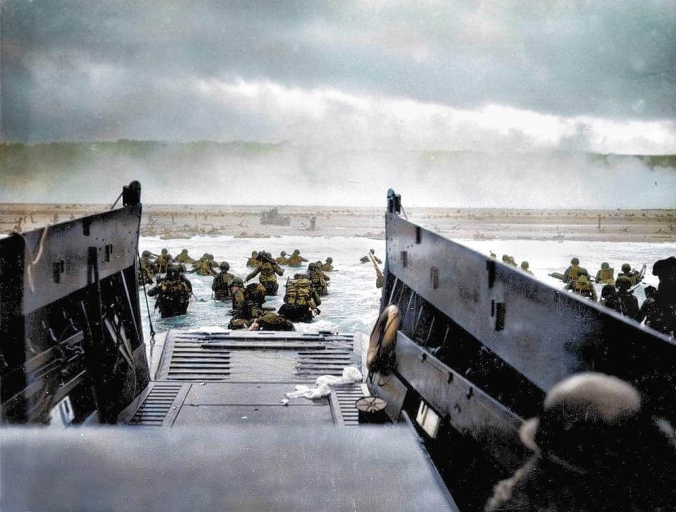 Color photograph of the D-Day landing in Normandy, June 6, 1944. Colored by Royston Leonard