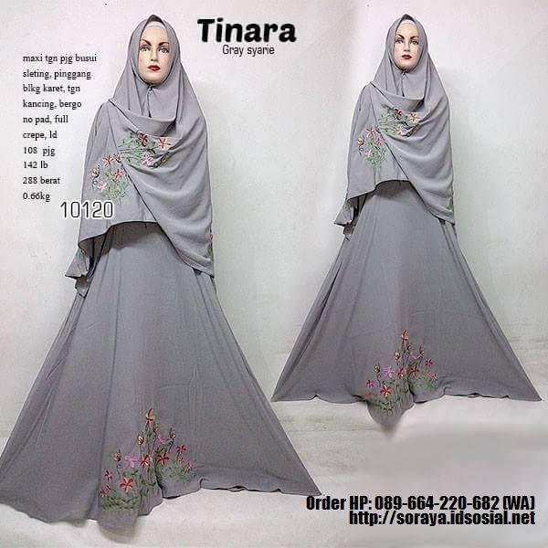 jual baju muslimah tinarah syarie warna abu abu full crape