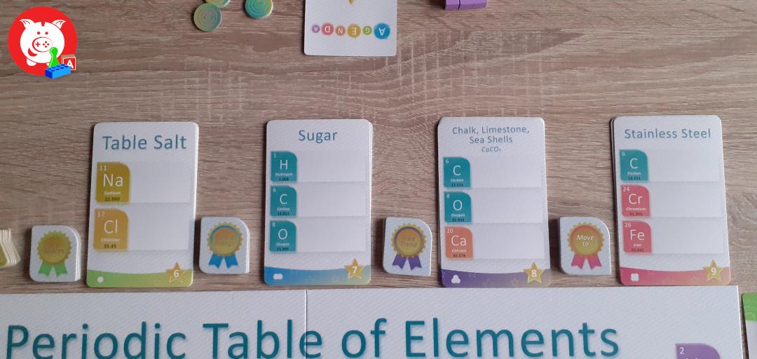 De vier verschillende doelkaarten. Hierop plaats je een kubus als je een element bereikt.