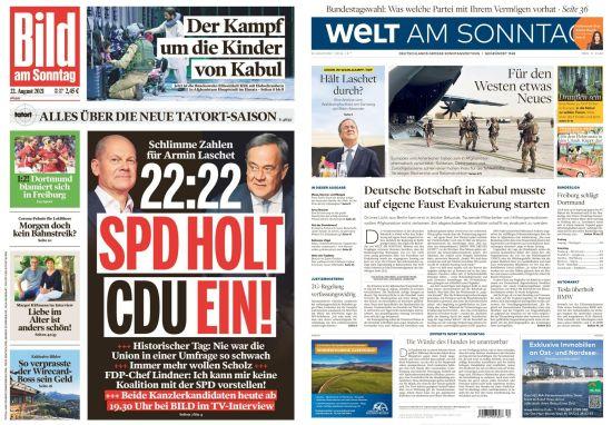 Cover: Bild und Welt am Sonntag No 34 vom 22  August 2021