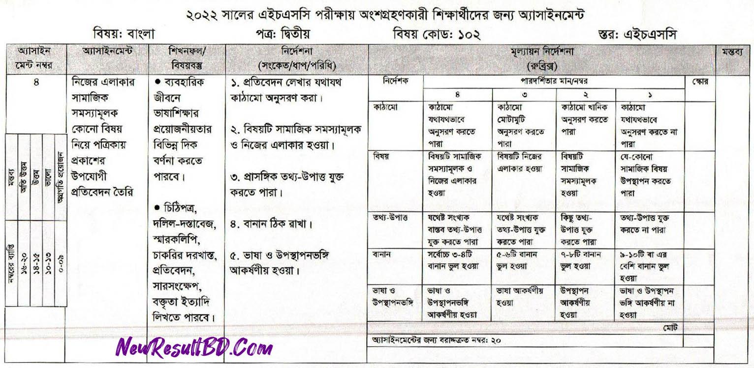 HSC Bangla 2nd Paper 8th Week Assignment 2022