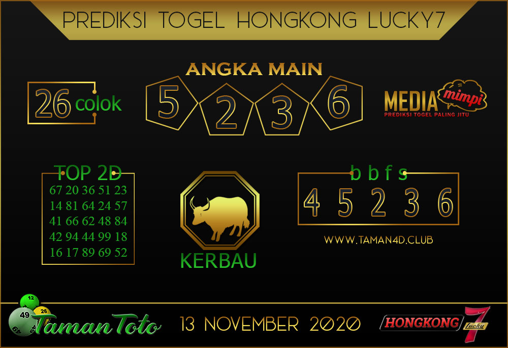 Prediksi Togel HONGKONG LUCKY 7 TAMAN TOTO 13 NOVEMBER 2020