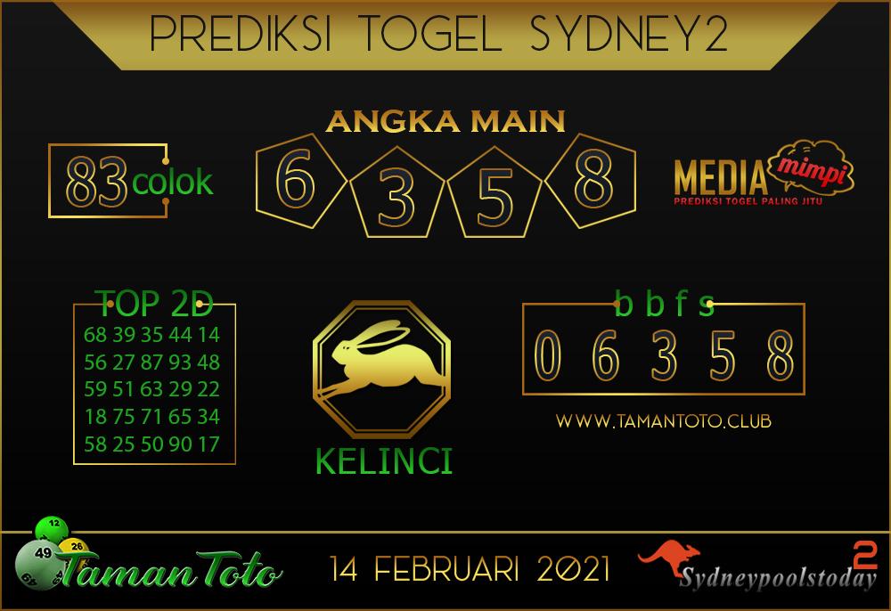 Prediksi Togel SYDNEY 2 TAMAN TOTO 14 FEBRUARI 2021