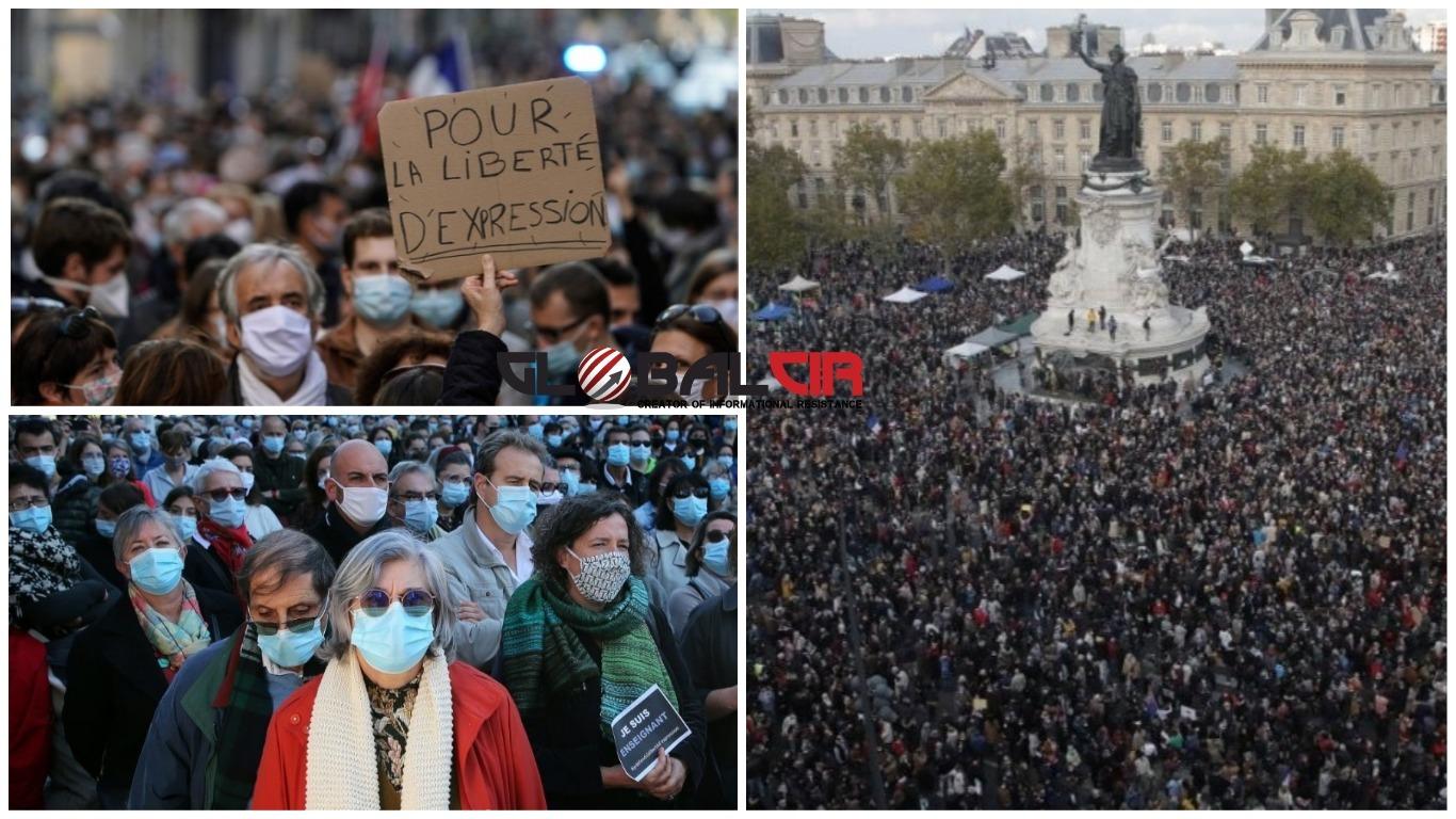 (VIDEO) MASOVNI PROTESTI U FRANCUSKOJ NAKON TERORISTIČKOG NAPADA U KOJEM JE ZAKLAN NASTAVNIK HISTORIJE! Desetine hiljada građana izašlo na ulice: 'Ovdje branimo Republiku i sekularizam'