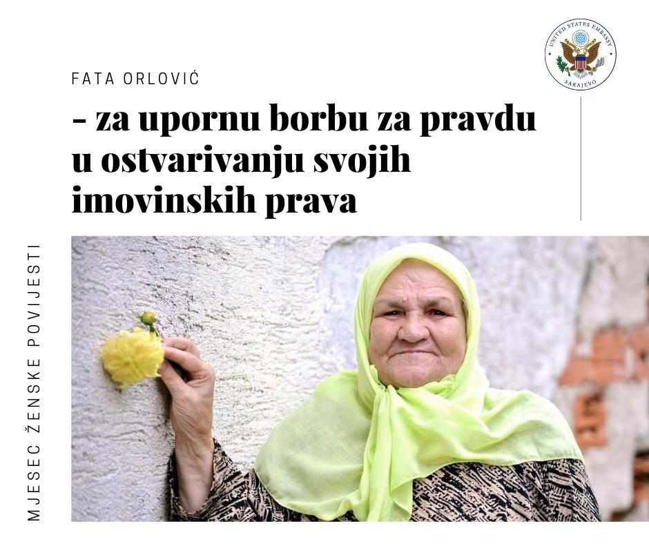 MJESEC ŽENSKE HISTORIJE: Ambasada USA dodijelila priznanje nani Fati Orlović