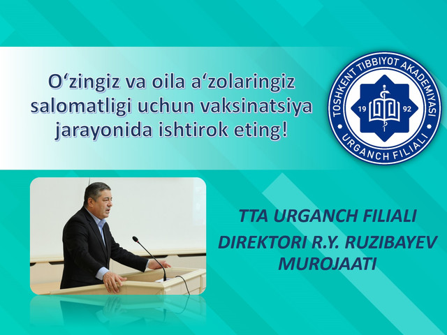 Address of the Director of Urgench branch of Tashkent Medical Academy