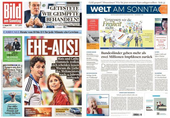 Cover: Bild und Welt am Sonntag No 32 vom 08  August 2021