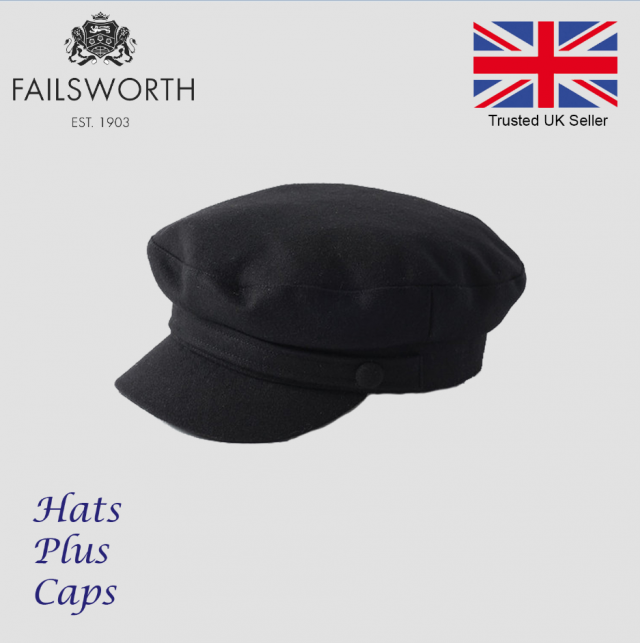 29e41a477 Details about Failsworth Melton Wool Mariner Breton Cap Black Greek Fiddler  Sailor Fishing Hat