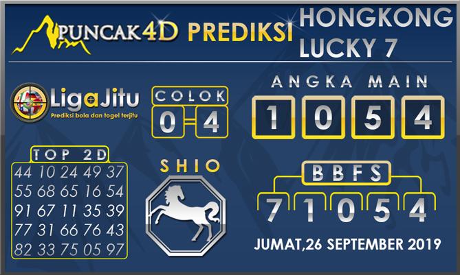 PREDIKSI TOGEL HONGKONG LUCKY7 PUNCAK4D 27 SEPTEMBER 2019