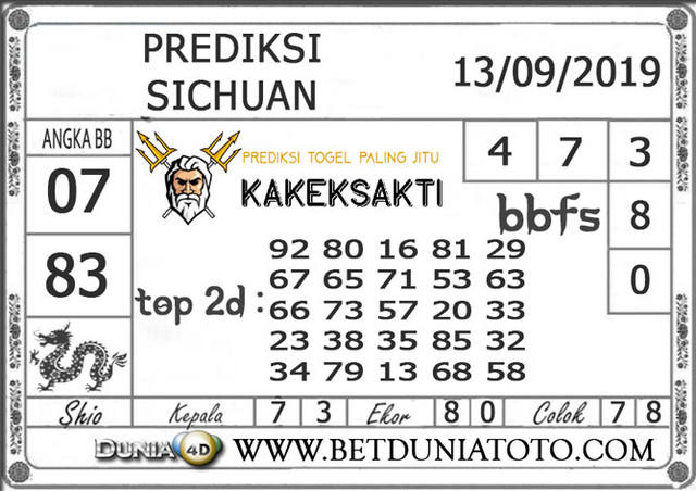 "Prediksi Togel ""SICHUAN"" DUNIA4D 13 SEPTEMBER 2019"
