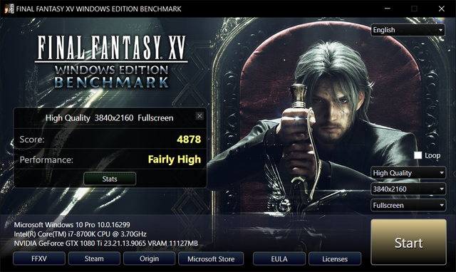 FF XV Benched 4k Ultra