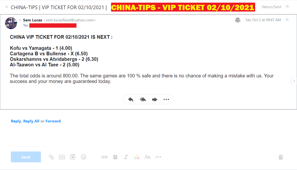 BEST COMBINED VIP TICKET | CHINA FIXED MATCHES