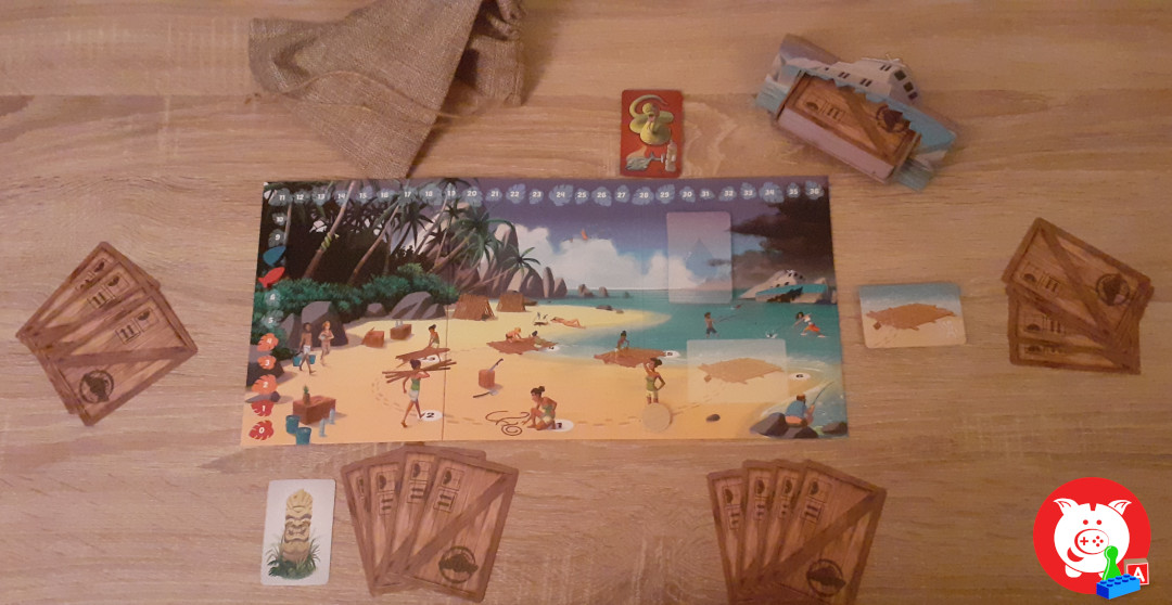 De setup voor vier spelers.