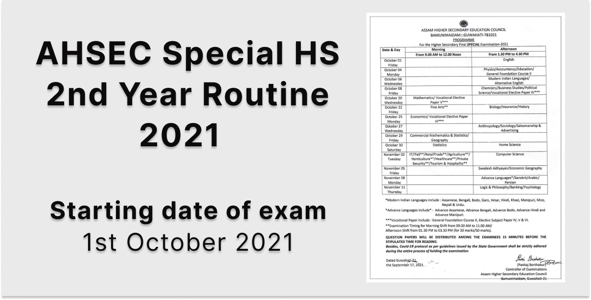 Special HS 2nd Year Routine 2021 - AHSEC HS Final Exam Routine
