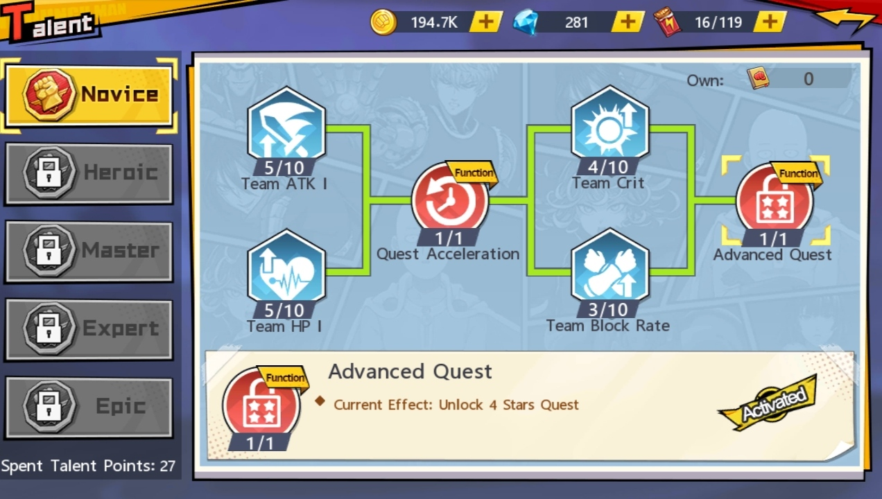 What is Unlock 4 Star Quest in Saitama Talent One Punch Man The Strongest