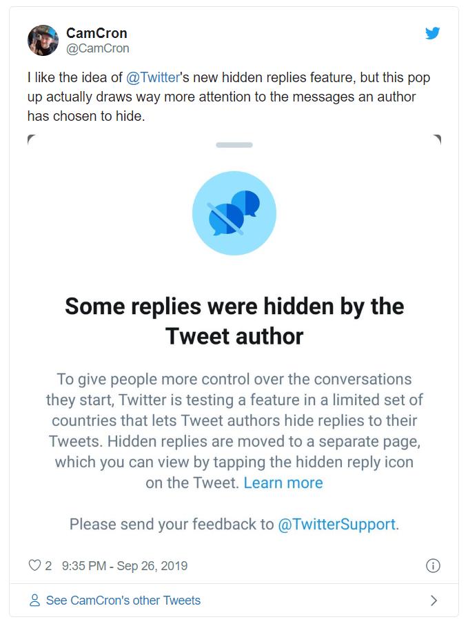 twitter hidden replies | Twitter's useful 'Hide Replies' feature now open for developers