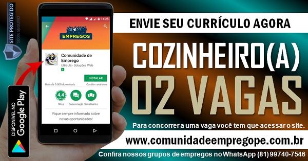 COZINHEIRO (A), 02 VAGAS PARA EMPRESA DO SEGMENTO HOSPITALAR