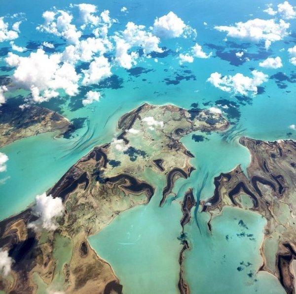 Карибское море из окна самолета