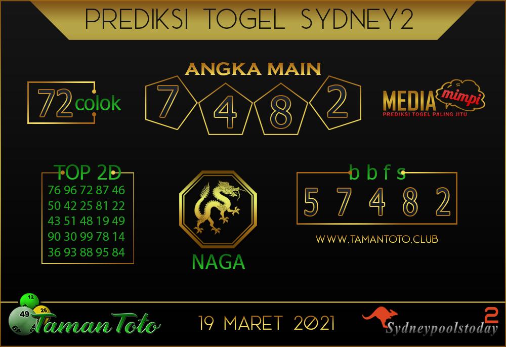 Prediksi Togel SYDNEY 2 TAMAN TOTO 19 MARET 2021