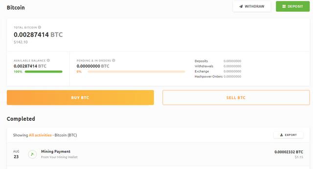 NiceHash BTC Wallet Page