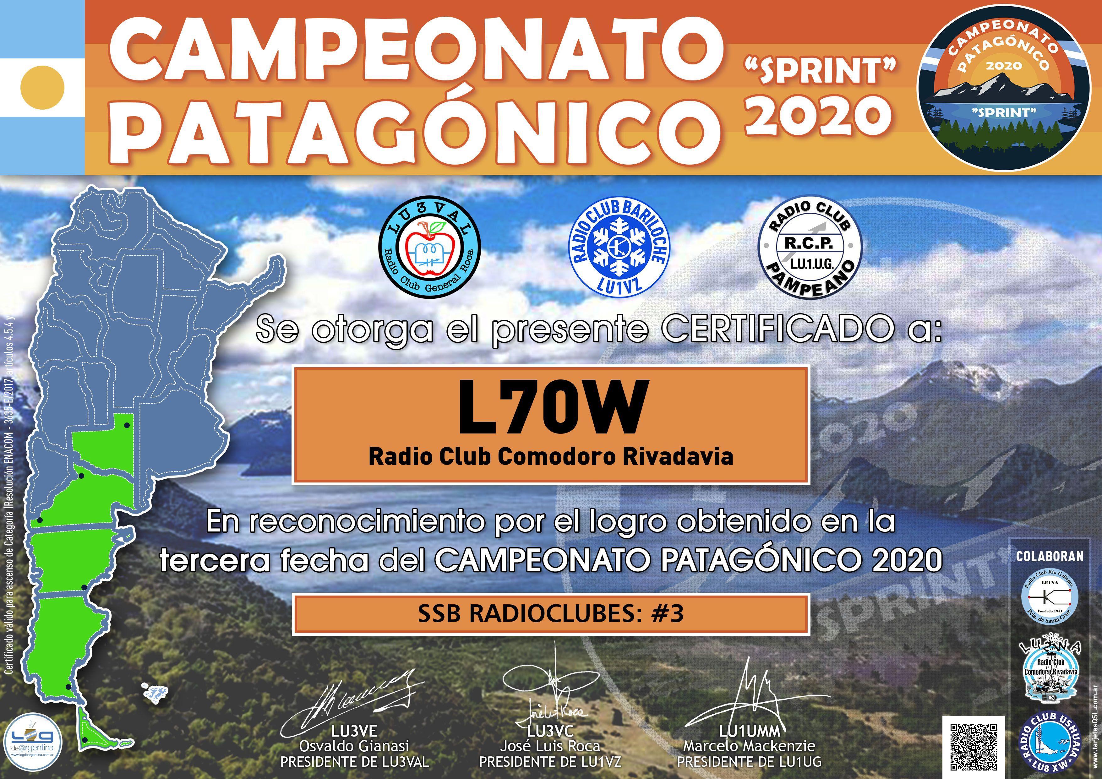 Resultados 3ra. fecha Campeonato Patagónico 2020