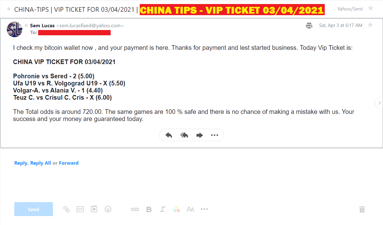 CHINA VIP TICKET FOR 03/04/2021 | CHINA FOUR FIXED MATCHES