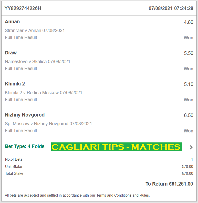 Official VIP TICKET for CAGLIARI TIPS FIXED MATCHES