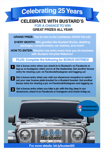 Bustard-Chrysler-Waterloo-25th-Anniversary-Contest-Poster