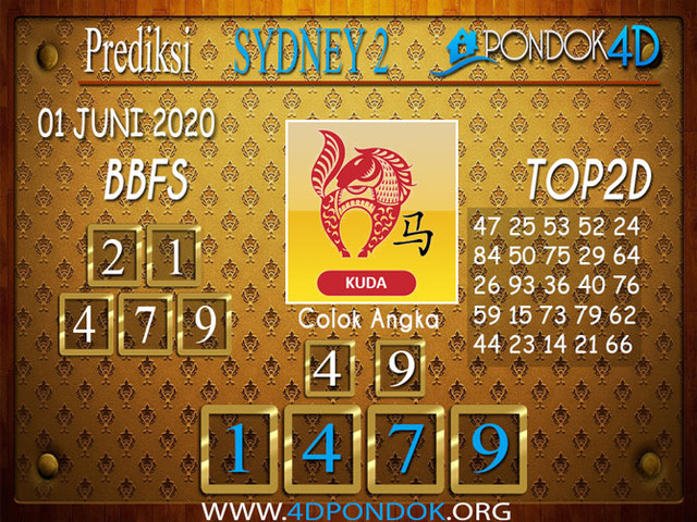 Prediksi Togel SYDNEY 2 PONDOK4D 01 JUNI 2020
