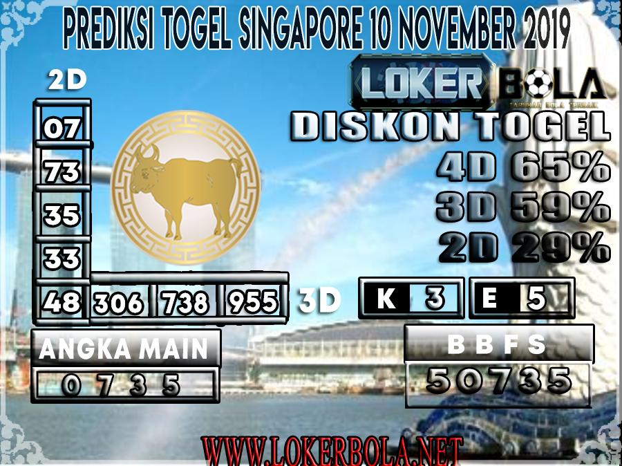 PREDIKSI TOGEL SINGAPORE LOKERBOLA 10 NOVEMBER 2019