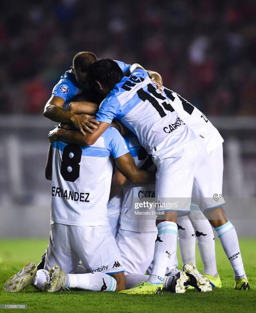 AVELLANEDA-ARGENTINA-FEBRUARY-23-Lisandro-Lopez-of-Racing-Club-celebrates-with-teammates-after-scori