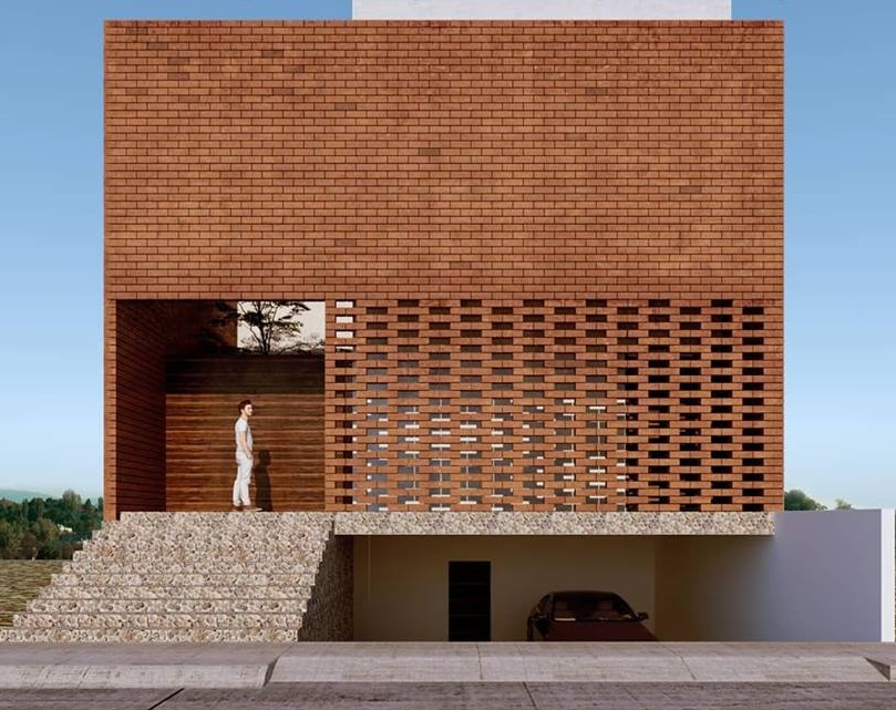 Rumah Minimalis dengan Material Bata Ekspos