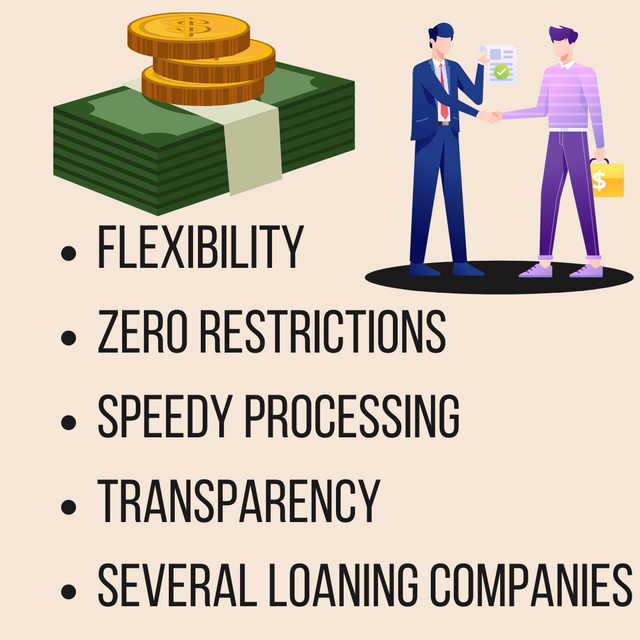 Flexibility-Zero-restrictions-Speedy-processing-Transparency-Several-loaning-companies