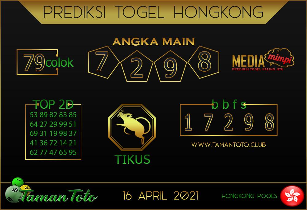 Prediksi Togel HONGKONG TAMAN TOTO 16 APRIL 2021