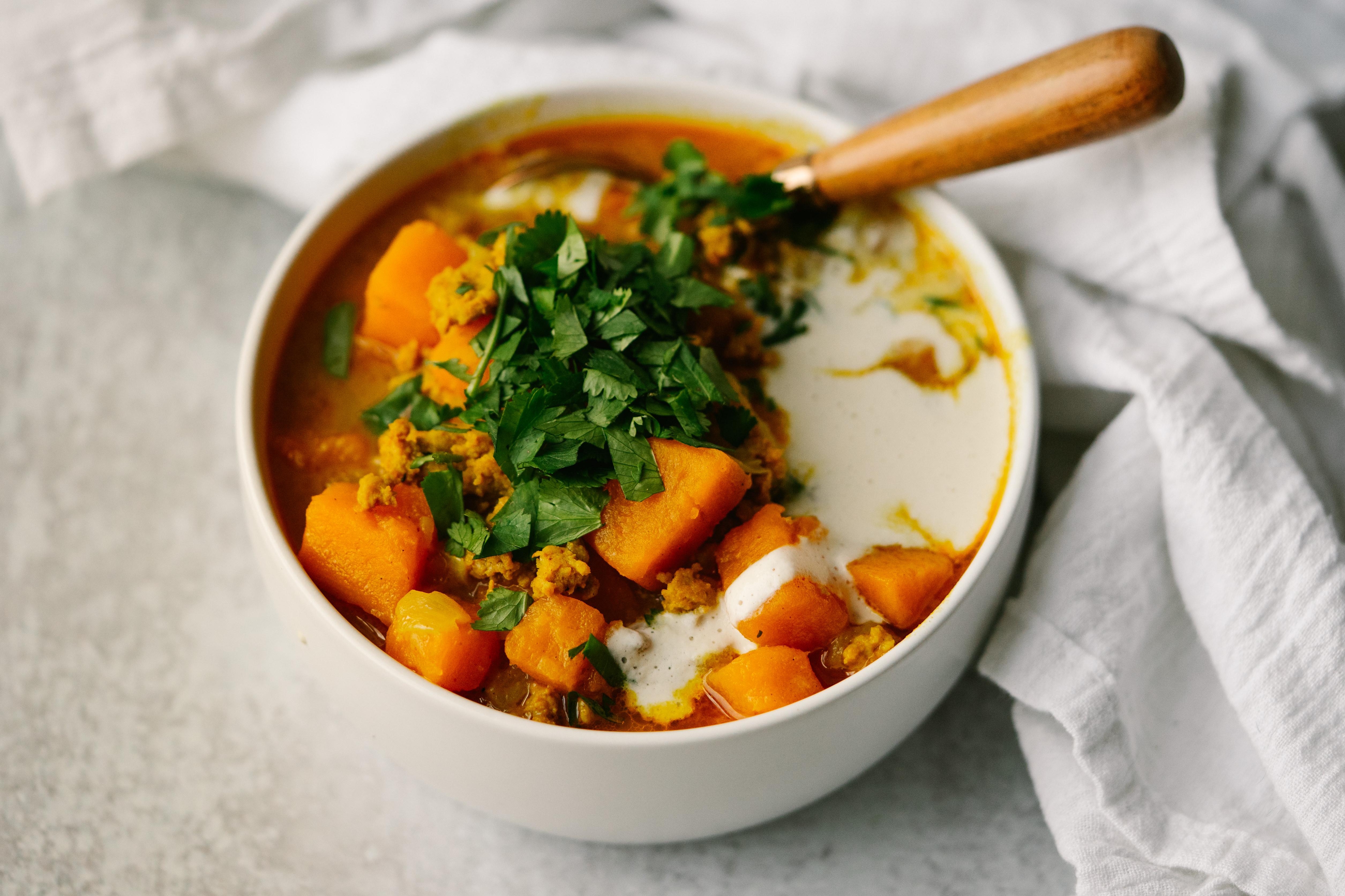 Sweet Potato and Sausage Curry Soup