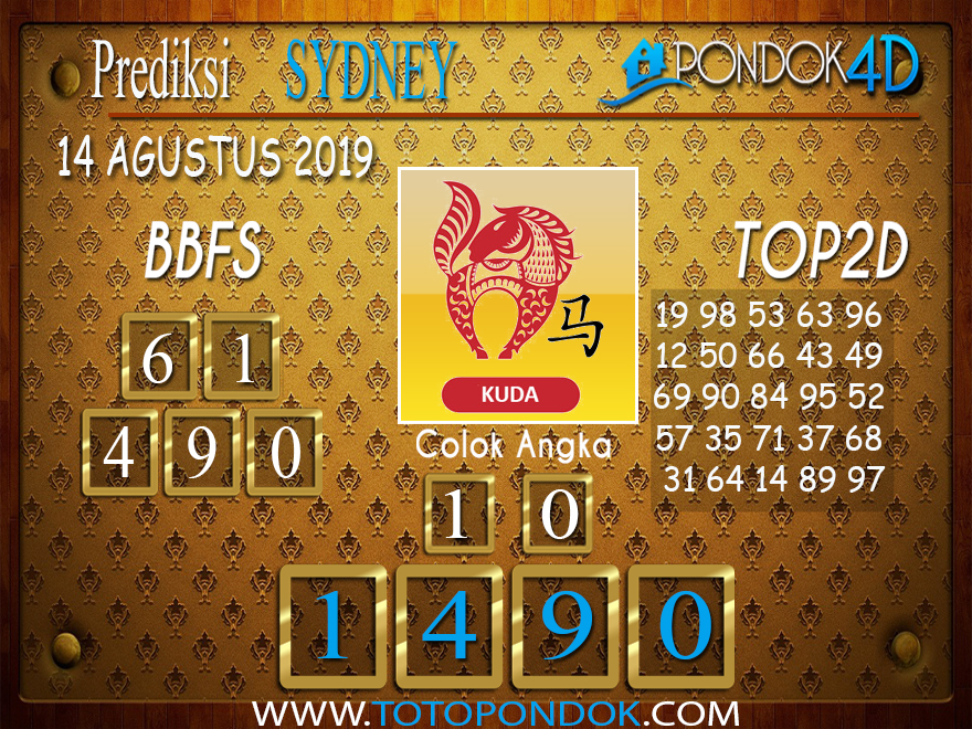 Prediksi Togel SYDNEY PONDOK4D 14 AGUSTUS 2019