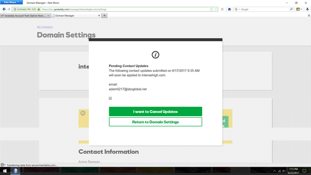 godaddy cancel updates screenshot