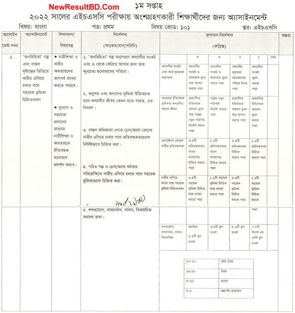 HSC Bangla 1st Week Assignment