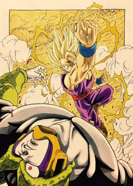 cell-perfect-cell-and-son-gohan-dragon-ball-z-and-etc-drawn-by-lee-dragon-garou-sample-4b553799737a4