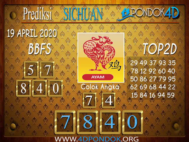 Prediksi Togel SICHUAN PONDOK4D 19 APRIL 2020