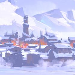 """<div>Le village congelé</div><div class=""""fond-sujet""""><div class=""""f10""""></div></div>"""