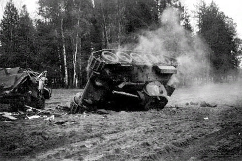 Overturned Soviet tank T34
