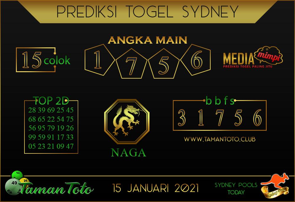 Prediksi Togel SYDNEY TAMAN TOTO 15 JANUARI 2021
