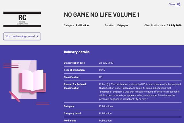 剛剛發現輕小說《NO GAME NO LIFE 遊戲人生》,因為涉及兒童色情被澳洲Banned了。 Image