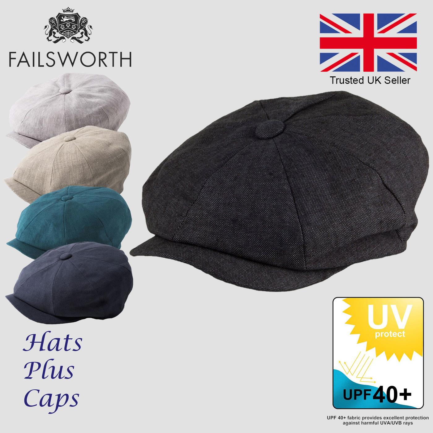 9d2e326c Failsworth Irish Linen Alfie Summer Newsboy Flat Cap UPF40 Sun Hat ...
